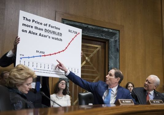 HHS nominee Azar challenged over rising drug prices at company he ran